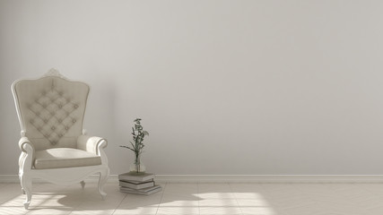 Classic living background, with white vintage armchair on herringbone natural parquet flooring, interior design