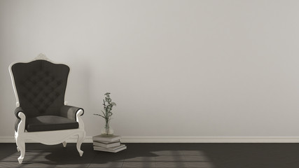 Classic living background, with white and gray vintage armchair on herringbone natural parquet flooring, interior design
