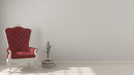 Classic living background, with white and red vintage armchair on herringbone natural parquet flooring, interior design