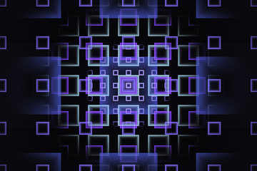Abstract fractal design with purple and cyan gradient squares, on dark background