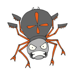 Colored a spider in a cartoon style. A sketch of the insect. Vector isolated image. The emotion of anger. Prints, posters, printed materials, videos, mobile apps, web sites and print projects.