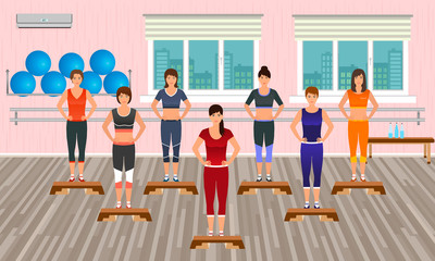 Fitness people in the gym. Athletic women doing exercises. Sport characters. Helthy lifestyle concept.