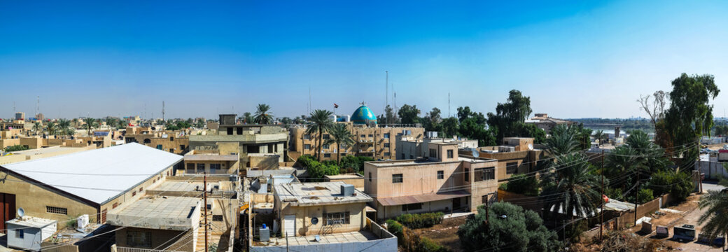 Aerial Panorama cityscape view to Baghdad, Iraq