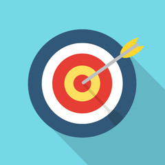 Target with an arrow flat icon concept market goal vector picture image