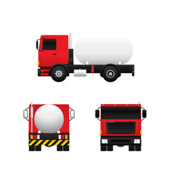Vector of gas tank truck in different views isolated on white background.