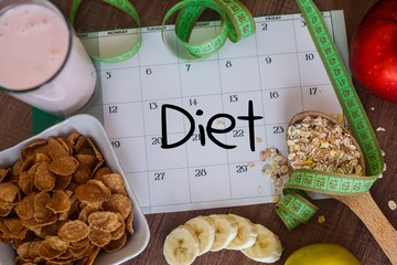 """Weight loss concept with calendar and inscription """"Diet"""""""
