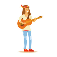Guy Hippie Dressed In Classic Woodstock Sixties Hippy Subculture Clothes Standing Playing Guitar