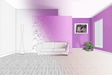 interior with sofa 3d illustration (preview)