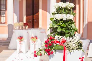 wedding ceremony outdoor in a beautiful garden