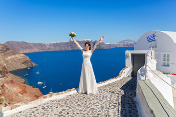Young bride  on Santorini island