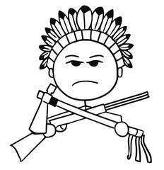 Vector Stickman Cartoon of Indian Tribal Chief