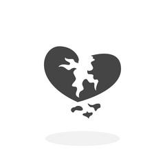 Broken heart Icon. Vector logo on white background