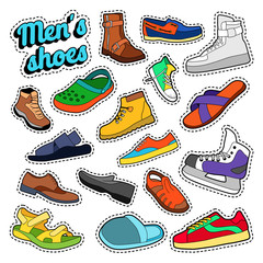 Mens Fashion Shoes and Boots Set for Stickers, Prints. Vector doodle