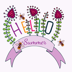 Hello Summer lettering with flower and bee