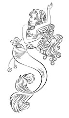 Coloring page - illustration. The Little Mermaid dancing underwater