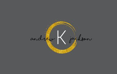 K Letter Logo Design with Gold Rounded Texture.