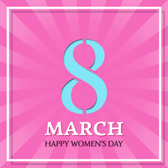 Happy Women's Day, 8 March. Vector background. Greeting card template.
