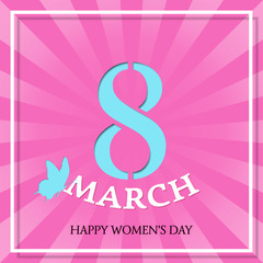8 March Happy Women's Day. Vector background. Design template. Striped pattern