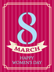 8 March. Women's Day greeting card. Vector background. Retro striped design.