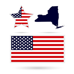 Map of the U.S. state of New York on a white background. American flag, star
