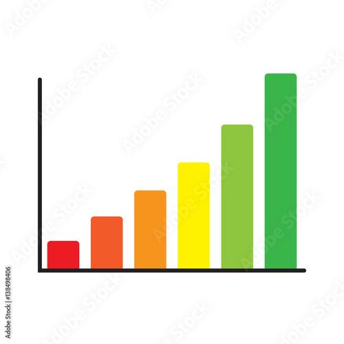 Vertical bar graph, diagram representing growth icon.