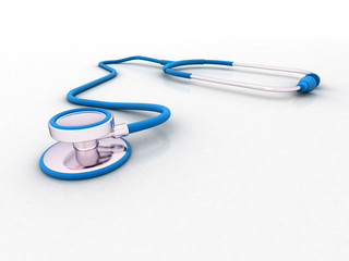 stethoscope isolated on white background. 3d illustration. medical concept
