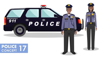 Policeman concept. Detailed illustration of african american policeman and policewoman standing together near the police car in flat style on white background. Vector illustration.