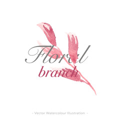 Pink flower branch. Vector floral watercolor logo template. Modern trendy design invitation, 8 march banner, springtime illustration. Boho design.