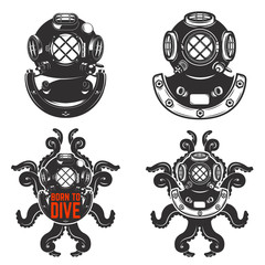 Set of vintage diver helmets. Diver helmet with octopus tentacles. Born to dive. Design elements for logo, label, emblem. Vector illustration.