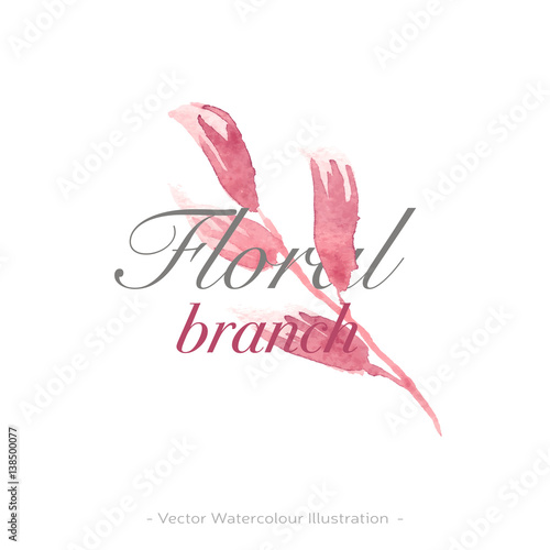 Vector Watercolor Logo Image With Pink And Violet Flower For