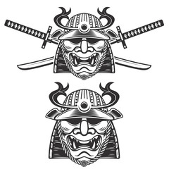 Set of the samurai mask with crossed swords isolated on white background. Design elements for logo, label, emblem, sign, brand mark. Vector illustration.