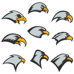 set of eagle heads icons isolated on white background. Design elements for logo, label, emblem. Vector illustration.