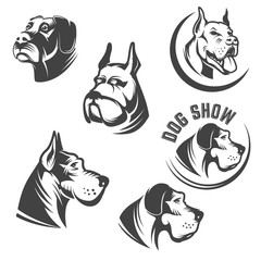 Set of the dog heads icons isolated on white background. Images for logo, label, emblem. Vector illustration.