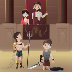 Gladiators in Roman circus and roman emperor giving thumbs up
