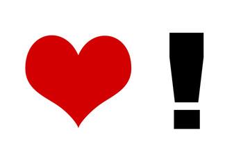 Rotes Herz mit schwarzen Ausrufezeichen