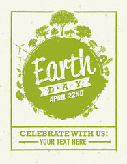 Earth Day Eco Green Vector Poster Design. Organic Circle Concept on Paper Background