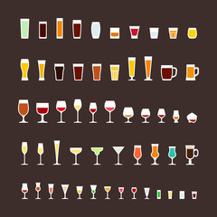 Glass types flat icons set
