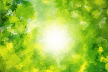Abstract low poly background. Pattern of triangles. Polygonal design. Green and yellow color. The white circle in the center. Raster copy