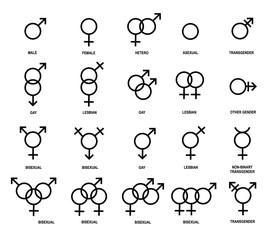 Fototapeta Vector outlines icons of gender symbols