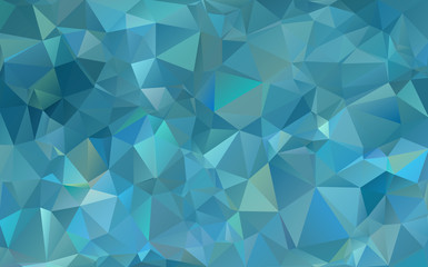Abstract low poly background. Pattern of triangles. Polygonal design. Stretching to the black. Azure, blue, green. All colors of the rainbow. Raster copy