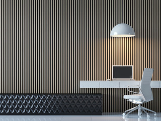 Modern contemporary working room interior 3d rendering image.There are decorate wall with vertical wood pattern,black and white furniture