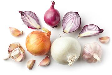 various onions and garlic