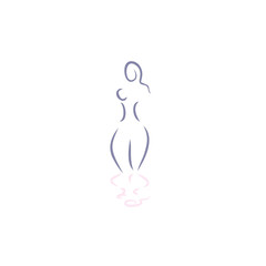 woman nude vector line illustration