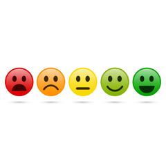 Emoticon evaluation icon, feedback icon. Vector.