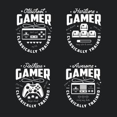 Retro video games related t-shirt design. Oldschool gamer text. Vector vintage illustration.