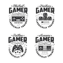 Retro video games related t-shirt design. Oldschool gamer text. Vector vintage illustration.
