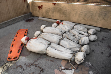 Death bodies in bags after terrorist attack or virus epidemy