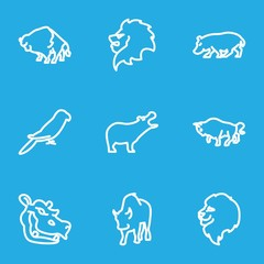 Set of 9 zoo outline icons