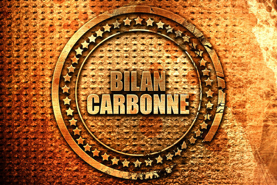 """French text """"bilan carbonne"""" on grunge metal background, 3D rend"""