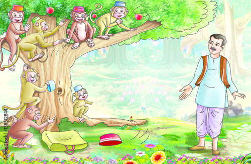 Cap seller and the monkeys